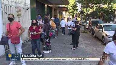 Filas sacrificam pacientes na Farmácia de Minas - Pessoas que precisam retirar medicamentos enfrentam longa espera por atendimento.