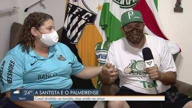 Casal de Santos que torce para times rivais faz aposta para final da Libertadores - Separados pela paixão pelos clubes distintos, eles vivem a situação com bom humor e respeito.