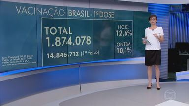 Mais de 1,8 milhão de pessoas foram vacinadas contra a Covid no Brasil - Até esta sexta-feira (29) 1.874.078 pessoas receberam a primeira dose da vacina contra a Covid-19 em 25 estados e no Distrito Federal – isso representa 12,6% das mais de 14,8 milhões de pessoas que devem ser imunizadas na 1ª fase do plano nacional.