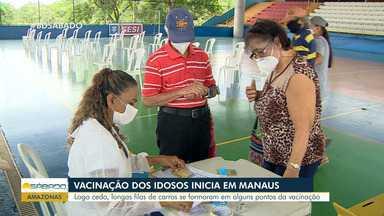 Cedo, longas filas se formam em pontos de vacinação em Manaus - Cedo, longas filas se formam em pontos de vacinação em Manaus.
