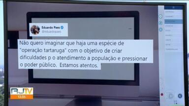 Prefeito Eduardo Paes suspeita de operação tartaruga no BRT - A concessionária diz que não tem dinheiro pra pagar salários e nem botar combustível nos ônibus.