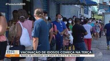 Idosos da capital baiana começam a ser imunizados contra a Covid na próxima semana - Vacinação tem início na terça-feira, 2 de fevereiro, e vai atender pessoas com idade a partir de 90 anos.