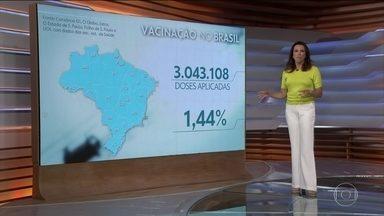 Brasil registra 3.043.108 de doses aplicadas das vacinas contra Covid-19 - Veja os números atualizados da pandemia no Brasil, segundo o consórcio de veículos de imprensa.