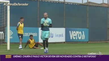 Churín e Paulo Victor devem ser as novidades do Grêmio contra o Botafogo - Vanderlei, Pinares e Luiz Fernando estão fora da viagem para o Rio de Janeiro.