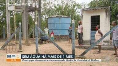 Moradores de povoado em Feira de Santana sofrem com falta de água há mais de um mês - O local não tem água encanada e o carro-pipa não tem aparecido para abastecer os reservatórios locais.