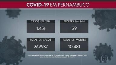 Pernambuco registra mais 1.451 casos de Covid e 29 mortes causadas pela doença - Ao todo, estado soma 269.937 confirmações e 10.481 óbitos desde o início da pandemia.