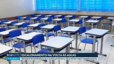 Secretaria da Saúde afirma que escolas particulares não precisam seguir o escalonamento - Escalonamento previsto em resolução publicada nesta quinta-feira (04) continua valendo para escolas públicas.