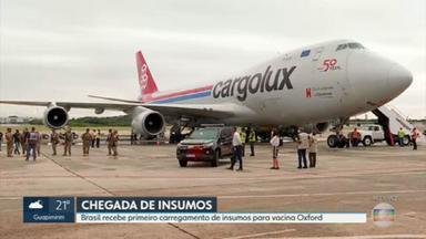 Chega ao Rio primeiro carregamento de insumos para fabricação da vacina de Oxford - 90 litros de IFA chegaram ao Galeão e serão levados direto para Fiocruz.