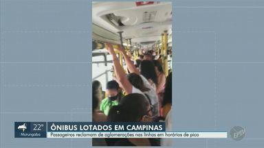 Passageiros fazem registros de aglomerações em linhas de ônibus de Campinas - Imagens mostram o coletivo 687, que sai da metrópole e segue até Vinhedo (SP), e o 654, que faz o percurso entre Sumaré e o Shopping Parque Dom Pedro.