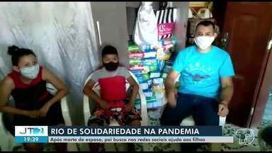 Após morte da esposa, pai recorre às redes sociais para arrecadar doações aos filhos - Família é de Oriximininá (PA). Esposa de Rodrigo Vieira morreu em decorrência da Covid-19 e em parto emergencial.