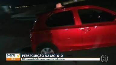 Perseguição na MG-010 termina com três adolescentes apreendidos - Eles estavam em carro furtado na região da Pampulha, em BH.