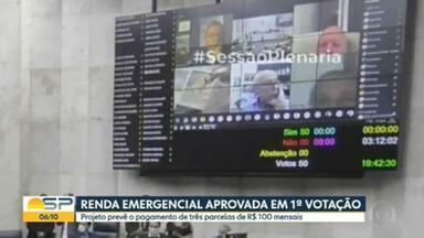 Câmara de SP aprova renda emergencial - Projeto prevê o pagamento de três parcelas de R$ 100 mensais.