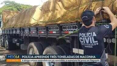 Polícia apreende três toneladas de maconha entre Maringá e Sarandi - A droga estava escondida em um caminhão e o motorista foi preso em flagrante.
