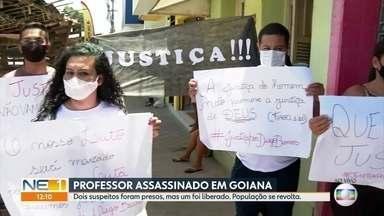 Justiça libera um dos dois suspeitos presos por matar professor em Goiana, na Zona da Mata - Amigos e família buscam entender o que aconteceu em meio à revolta pela perda de Diego Barros.