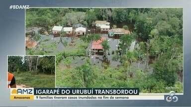 Igarapé do Urubuí transborda e inunda casas em Presidente Figueiredo, no AM - Nove famílias foram atingidas.