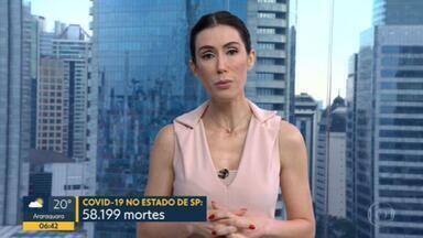 Estado de SP ultrapassa a marca de 58 mil mortes pela Covid-19 - Número de casos confirmados é de 1.990.554.