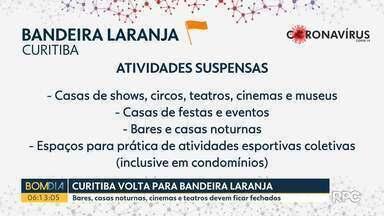 Bandeira laranja retorna a Curitiba e várias atividades são suspensas - Supermercados e shoppings não podem abrir mais aos domingos; cinemas e teatros ficam fechados enquanto durar o decreto.