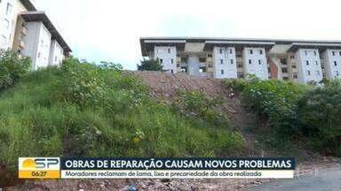 Seis meses após desabamento de caixa d'água em Diadema, moradores enfrentam problemas - CDHU afirmou que vai concluir, ainda nesta semana, a construção de muro para que a água da chuva escoe pelas redes de drenagem local.