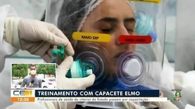 Profissionais de saúde do interior do Estado recebem treinamento para capacete elmo - Saiba mais em g1.com.br/ce