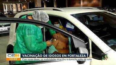 Vacinação de idosos em Fortaleza com drive-thru e à domicílio - Saiba mais em g1.com.br/ce