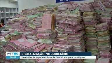 Digitalização no judiciário: toneladas de papel do Fórum de Cuiabá vão para reciclagem - Digitalização no judiciário: toneladas de papel do Fórum de Cuiabá vão para reciclagem