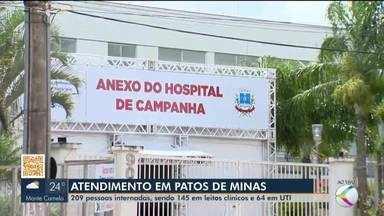 Em Patos de Minas, mais de 200 pessoas estão internadas para tratamento da Covid-19 - Na cidade, 145 pacientes estão em leitos clínicos e outros 64 em Unidade de Terapia Intensiva (UTI).