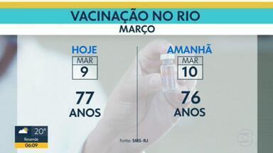 Rio imuniza idosos de 77 anos nesta terça-feira (9) - Nesta terça é dia dos idosos com 77 anos, mas a prefeitura já disse que só tem doses para dois dias, o calendário pode ser suspenso.