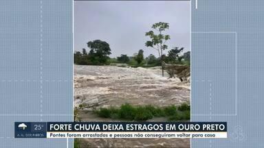 Forte chuva deixa estragos em Ouro Preto do Oeste - Pontes foram arrastadas e pessoas ficaram 'ilhadas' e não conseguir voltar para casa.