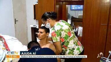 Ajuda aí: Radson teve traumatismo craniano e precisa de insumos e tratamento - Saiba mais em g1.com.br/ce