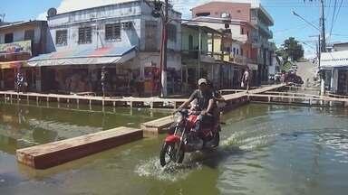No interior do Amazonas, cheia do Rio Solimões preocupa autoridades de Coari - Nível do rio está acima da média esperada para o período.