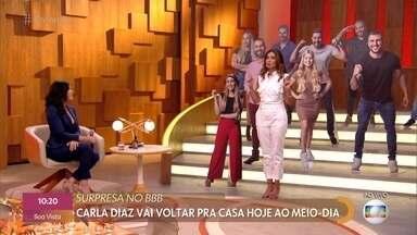 Carla Diaz se prepara para voltar à casa do BBB21 depois de ouvir conversas importantes - Fátima Bernardes e Vanessa Giácomo comentam os últimos acontecimentos no reality e imaginam a reação da galera com a saída de Carla do quartinho secreto