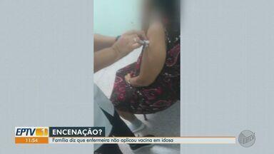 Família denuncia falsa aplicação da vacina contra a Covid-19 em idosa de Ribeirão Preto - Caso aconteceu na UBS do Jardim Juliana. Família diz que não tinha dose da vacina na seringa.
