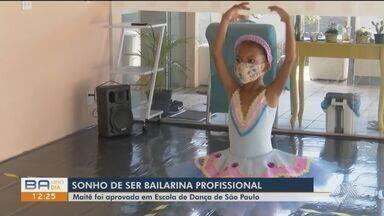 Menina que sonha virar bailarina profissional é aprovada em Escola de Dança de São Paulo - A pequena Maitê começou a dançar com apenas 2 anos de idade, em Porto Seguro. A família pede ajuda para que ela possa frequentar as aulas presenciais a partir do próximo semestre.