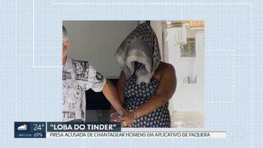 """Polícia prende """"Loba do Tinder"""", suspeita de chantagear homens em aplicativos de paquera - A mulher foi presa em Campinas (SP). Segundo a polícia, foram mais de 100 vítimas no DF."""