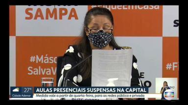 Prefeitura da capital suspende aulas presenciais nas redes pública e privada a partir de quarta (17) - O anúncio foi feito há pouco durante coletiva.