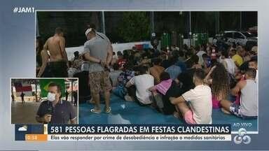 Mais de 500 pessoas são flagradas em festas clandestinas no Amazonas - Elas devem responder por crime de desobediência e infração a medidas sanitárias.