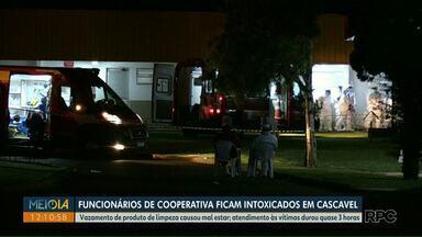 Funcionários de cooperativa ficam intoxicados após vazamento de produto, em Cascavel - O atendimento às vítimas durou quase 3 horas.