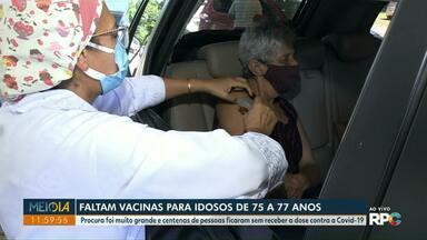 Doses contra a Covid-19 terminam e muitos idosos de 75 a 77 anos ficam sem a vacina - Procura foi muito grande e agora os idosos devem esperar a chegada de mais doses.