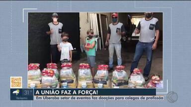 Profissionais do setor de eventos doam cestas básicas para colegas do ramo em Uberaba - Setor foi um dos mais prejudicados durante a pandemia.