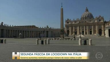 Itália passa segunda páscoa em lockdown - Governo italiano aumentou restrições porque número de casos voltou a subir.
