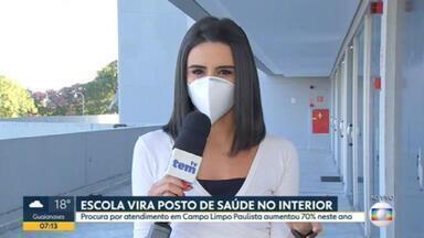 Procura por atendimento aumentou 70% em Campo Limpo Paulista - Alta de casos de coronavírus fez a prefeitura decidir transformar uma escola em unidade médica.