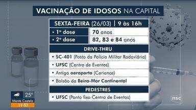 Idosos de 69 anos recebem vacina contra Covid-19 a partir de sábado em Florianópolis - Idosos de 69 anos recebem vacina contra Covid-19 a partir de sábado em Florianópolis