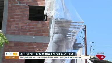 Crea faz vistoria em obra onde pedreiro morreu e outro ficou em estado grave em Vila Velha - Assista a seguir.