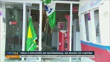 Bandidos armados tentaram assaltar banco em Quitandinha - Moradores relataram tiros e explosões durante a madrugada.