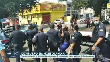 Protesto de comerciantes contra medidas restritivas gera confusão em Hortolândia - Guarda Municipal utilizou armas de choque para conter os trabalhadores no Jardim Amanda, na tarde desta quarta-feira (24).