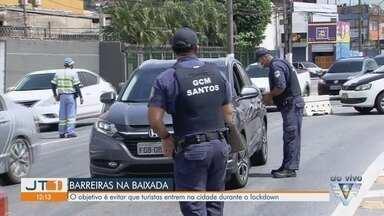 Cidades da Baixada Santista fazem bloqueios para evitar a entrada de turistas - Veículos estão sendo parados na entrada das cidades.