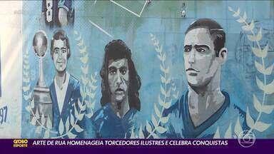 Arte de rua homenageia torcedores ilustres e celebra conquistas histórias do Cruzeiro - Arte de rua homenageia torcedores ilustres e celebra conquistas histórias do Cruzeiro