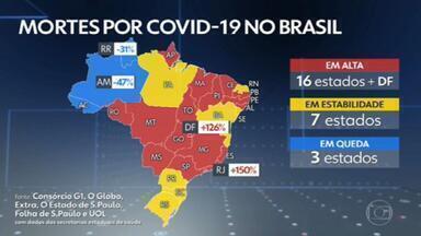 Brasil bate marca de 3 mil mortos por Covid por dia na média móvel - Nas últimas 24 horas, foram 3.674 mortes, levando a média a 3.119 por dia e o total a 325,5 mil óbitos.