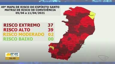 Novo Mapa de Risco: 37 cidades do ES continuam em risco extremo para Covid-19 - Veja a seguir.