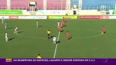 Na reabertura da Arena Batistão, Lagarto e Sergipe empatam em 2 a 2 - Lagarto chegou a ficar na frente do placar por duas vezes, mas o Sergipe buscou o empate.